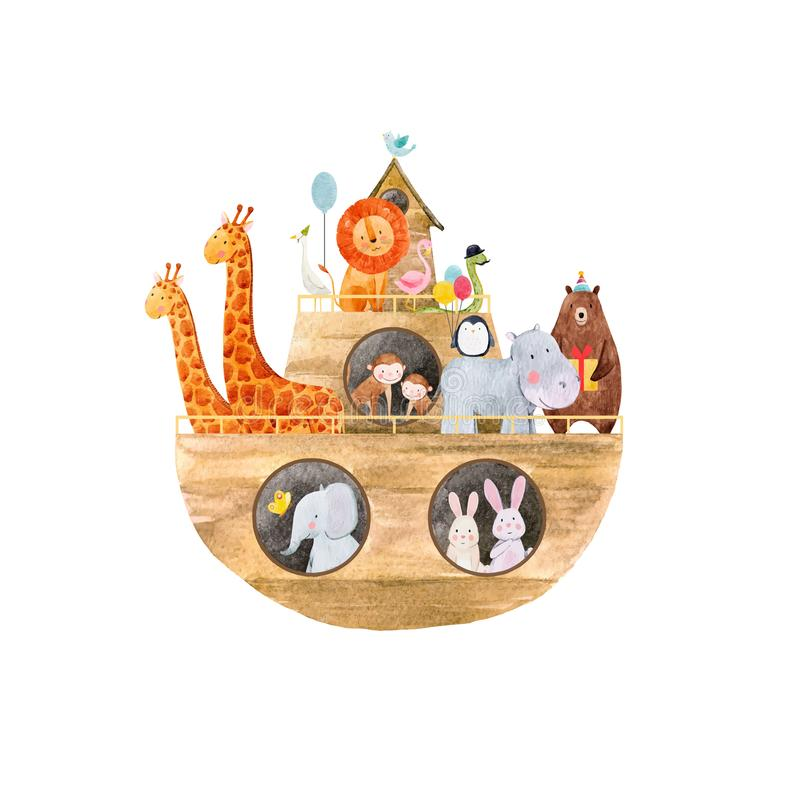 Watercolor baby Noah Ark. Beautiful baby vector illustration with watercolor noah ark with cute animals on transparent background stock illustration