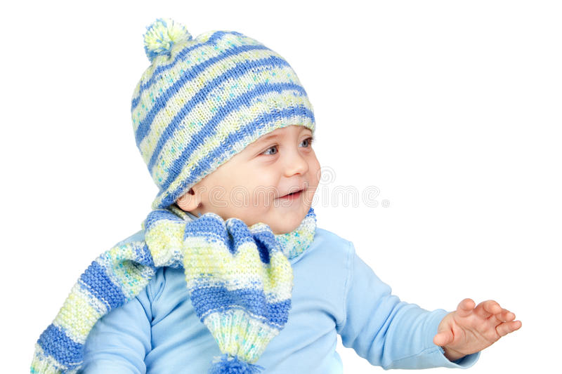 Beautiful Baby Warm With Hat And Scarf Royalty Free Stock Photo