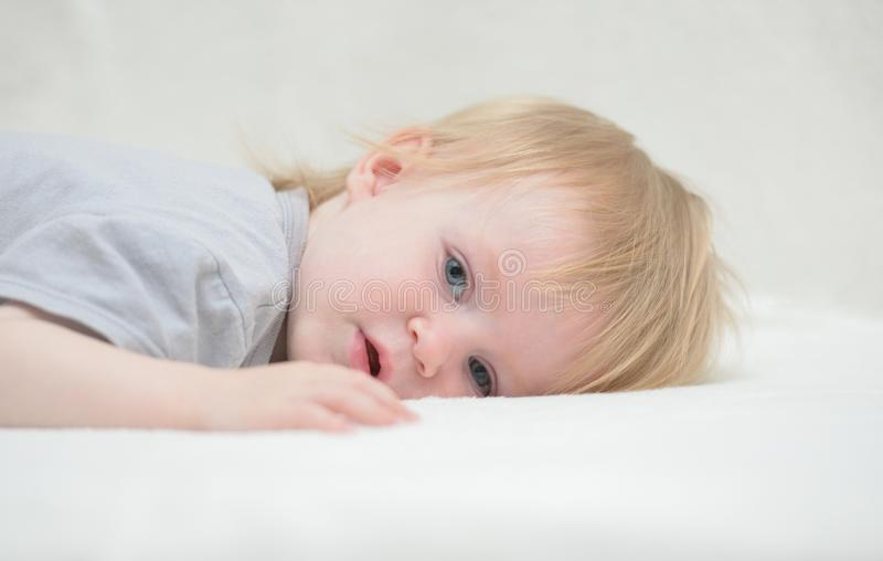 Download Beautiful Baby On A White Blanket Stock Image - Image: 27284183