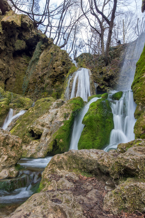Beautiful Bachkovo waterfalls cascade in Rhodopes Mountain, Bulgaria. Beautiful Bachkovo waterfalls cascade in Rhodopes Mountain, Plovdiv region, Bulgaria royalty free stock images