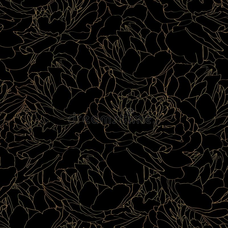 Beautiful backdrop with blooming tulips flowers, hand drawn with golden contour lines on black background. stock illustration