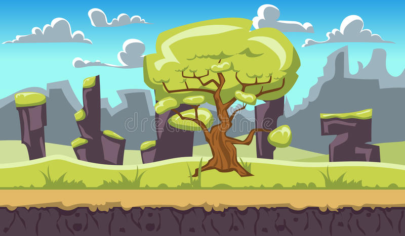 Beautiful backgroun. Landscape for browser and arcade games. Beautiful background vector illustration