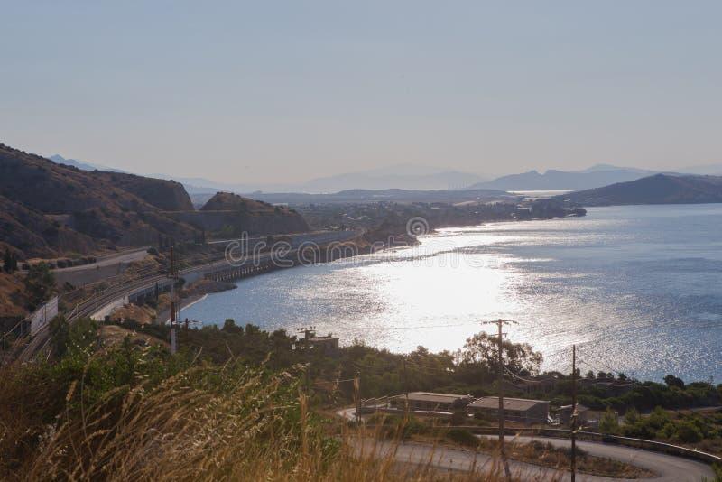 Beautiful background amazing seascape of horizon line. Greece. Aerial horizontal color photography stock photography
