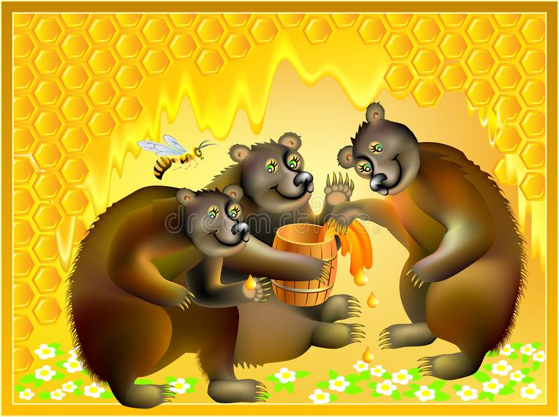 Beautiful background with bears family and honeycombs. Advertising for honey. vector illustration