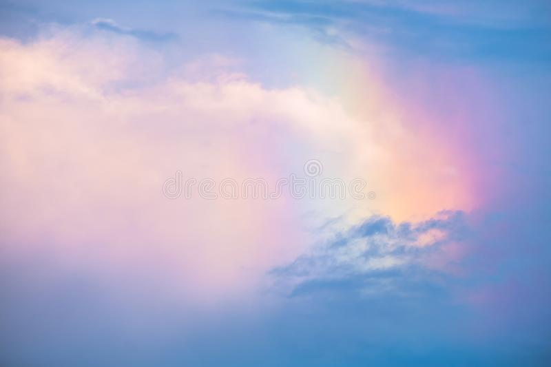 Beautiful background colorful rainbow over the clouds after rains. I. Beautiful background colorful rainbow over the clouds after rains stock image