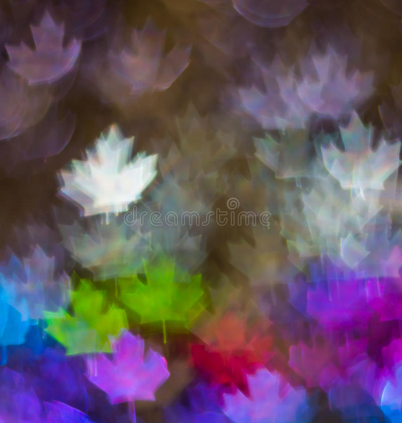 Beautiful background with different colored leaf, abstract background, leaf shapes on black background. Blurry stock photography