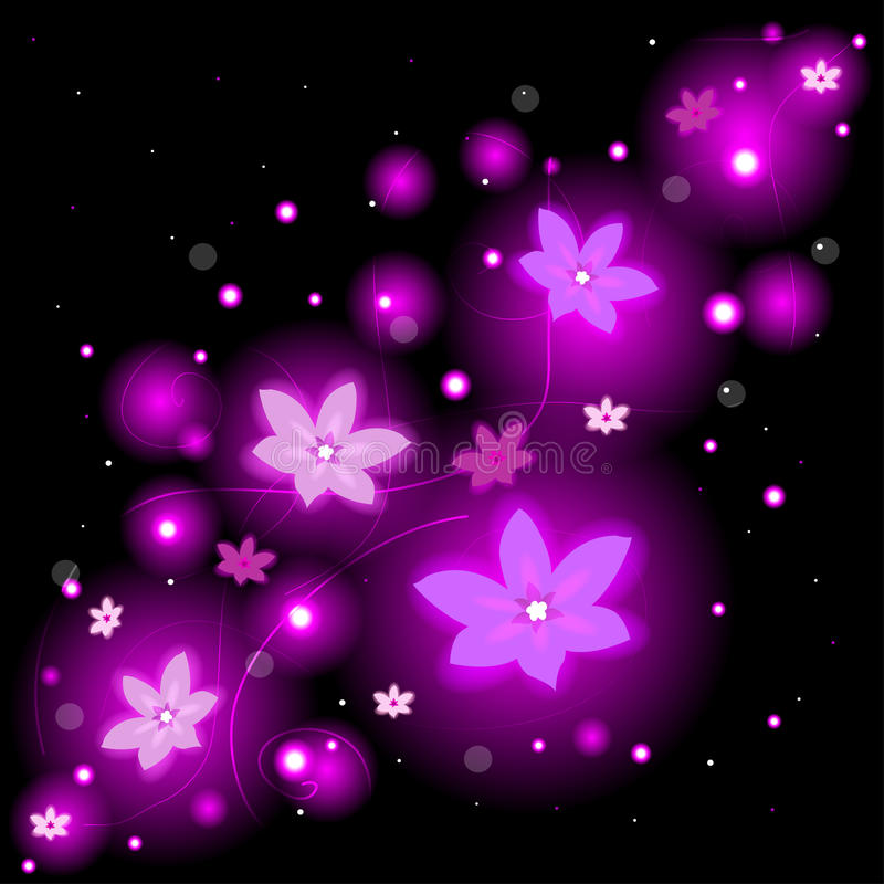 Beautiful background with glowing flowers and sparkles. Beautiful floral background with glowing flowers and sparkles royalty free illustration
