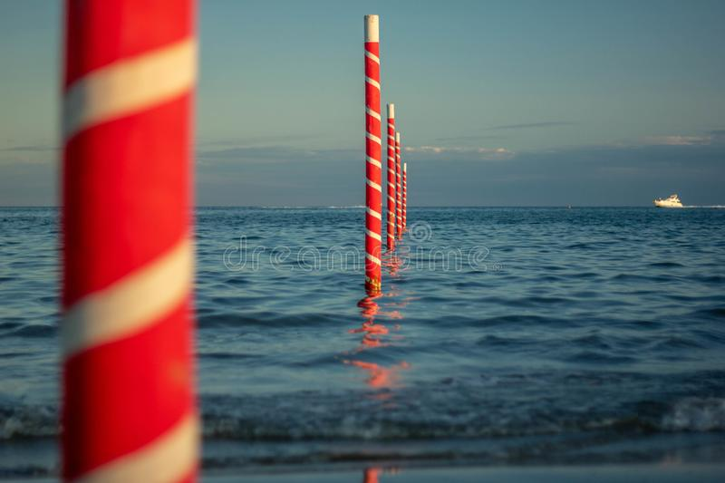 Beautiful background with images of a wonderful beach and a beautiful sea in Italy, Jesolo beach in venice in veneto. attracts man. Y tourists and would be royalty free stock images