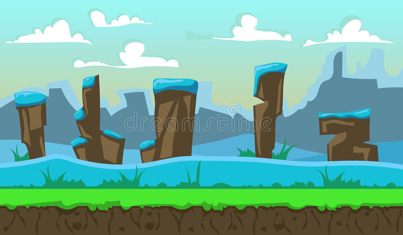 Beautiful background. Landscape for browser and arcade games. Beautiful background stock illustration