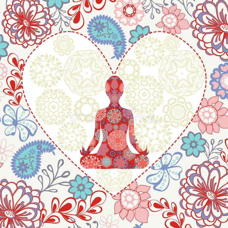 Beautiful background with lotus position yoga in heart shape royalty free illustration