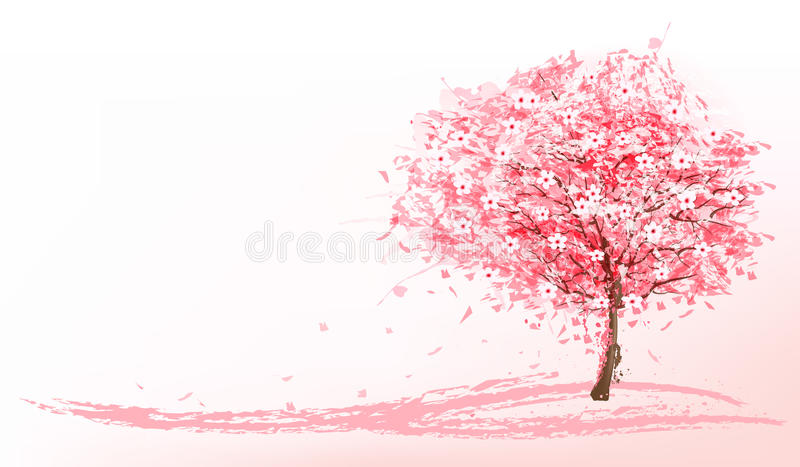 Beautiful background with a pink blooming sakura tree. vector illustration