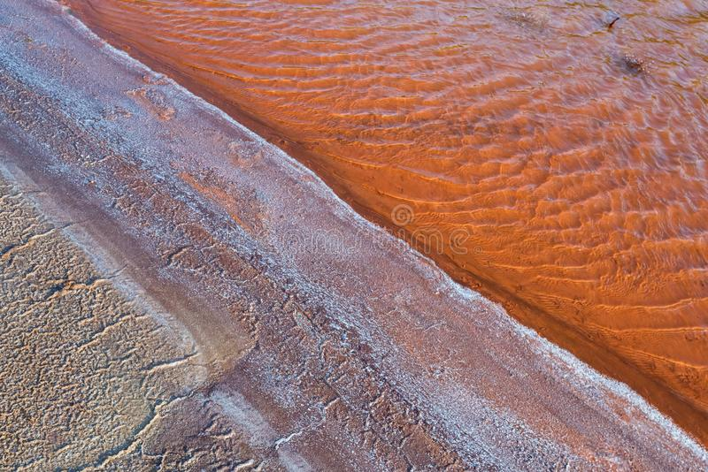 Beautiful background of saline water and red water polluted with iron stock image