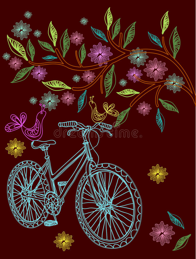 Download Beautiful Background With Tree And Bicycle Stock Vector - Image: 22897452