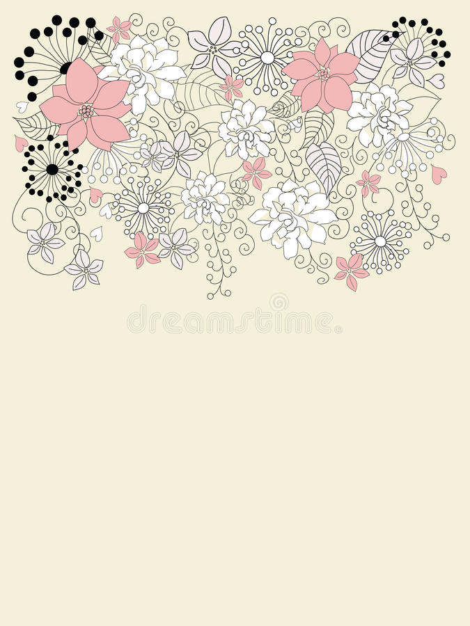 Download Beautiful Backgroung With Floral Decoration Stock Illustration - Illustration of design, leaves: 15258356