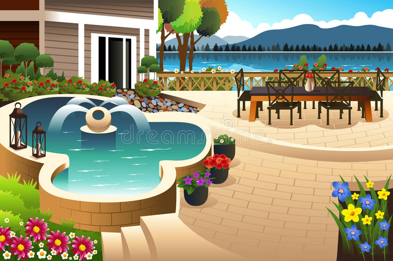 Beautiful backyard garden. A vector illustration of beautiful backyard garden stock illustration