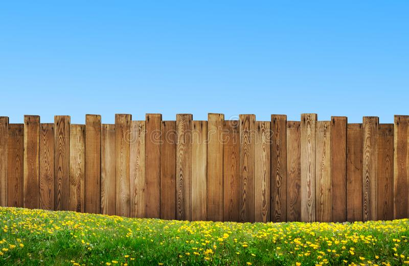 Beautiful backyard with wooden fence royalty free stock image