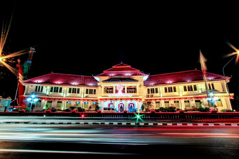 Beautiful Balai Kota Malang City Hall Malang Tugu Square or KM 0 Malang With Beautiful Park at the Night. stock image