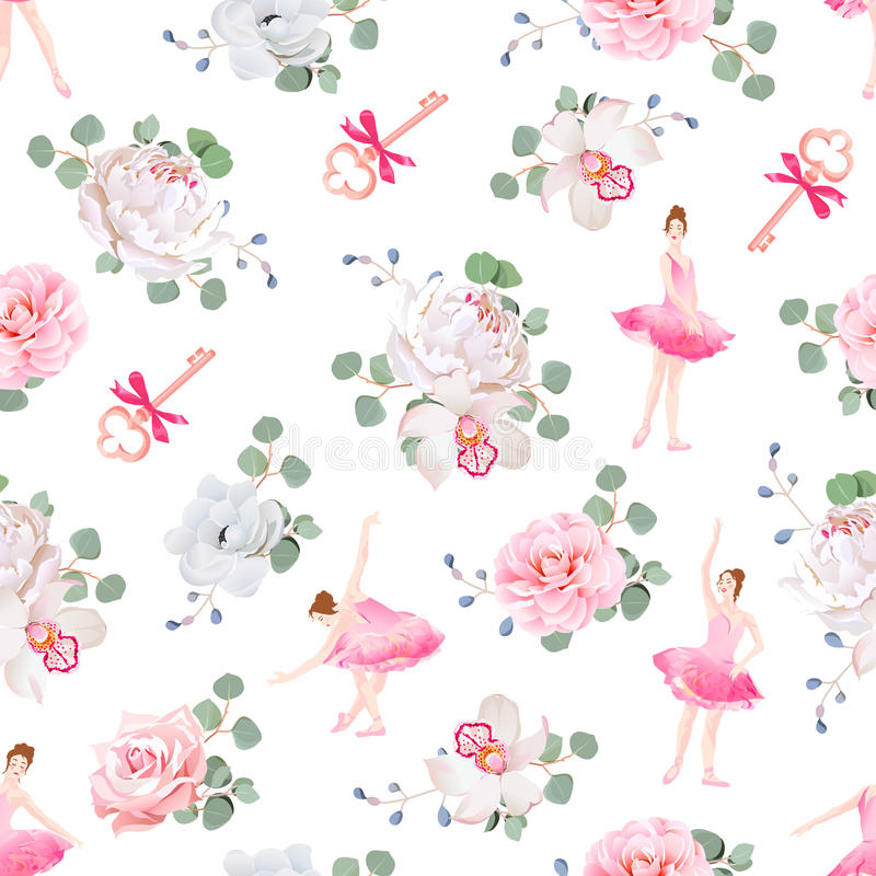 Beautiful ballerinas dance, keys with bows and fresh spring flower bouquets seamless vector pattern stock illustration