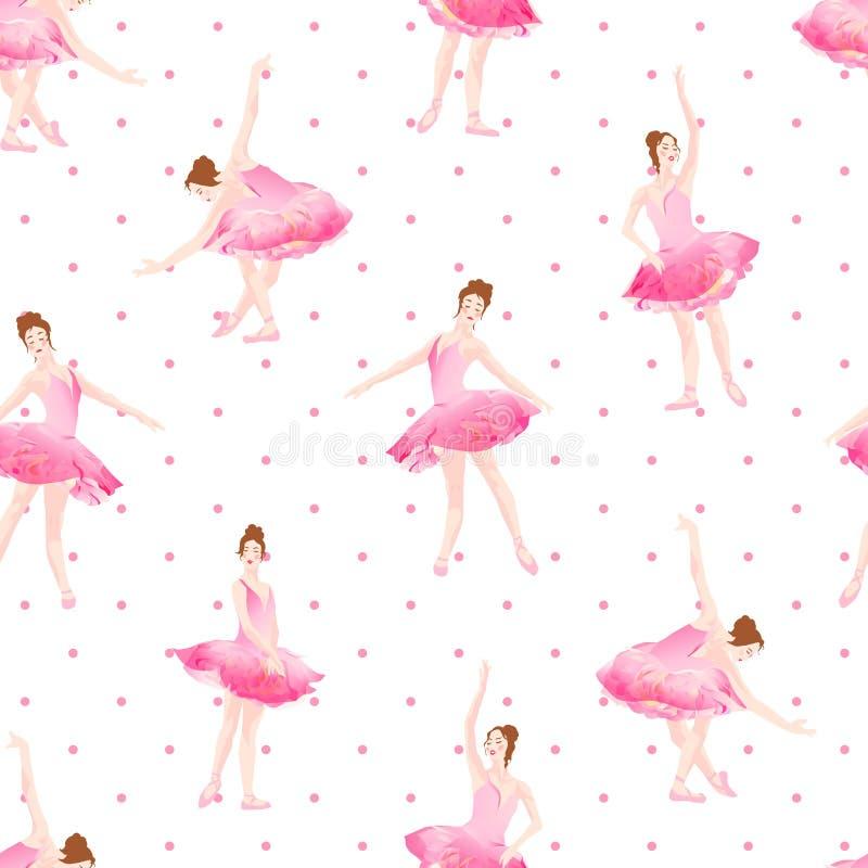 Beautiful ballerinas dance on polka dot background seamless vector pattern stock illustration