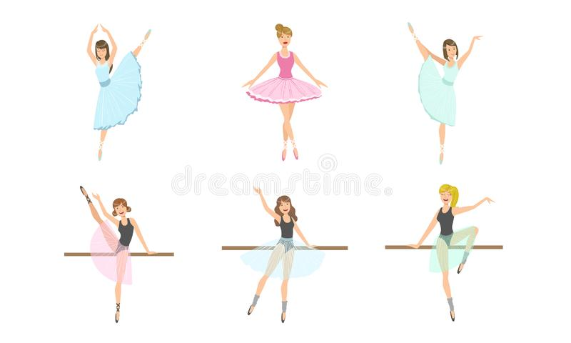 Beautiful Ballerinas Posing and Dancing Set, Classical Ballet Art Female Danser Characters Vector Illustration. On White Background royalty free illustration
