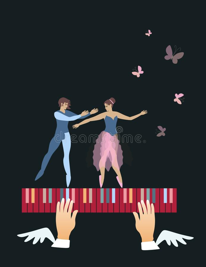 Beautiful ballet dancers and butterflies over multi-colored piano keys isolated on a black background. Conceptual musicl poster. Space for text. Vector royalty free illustration