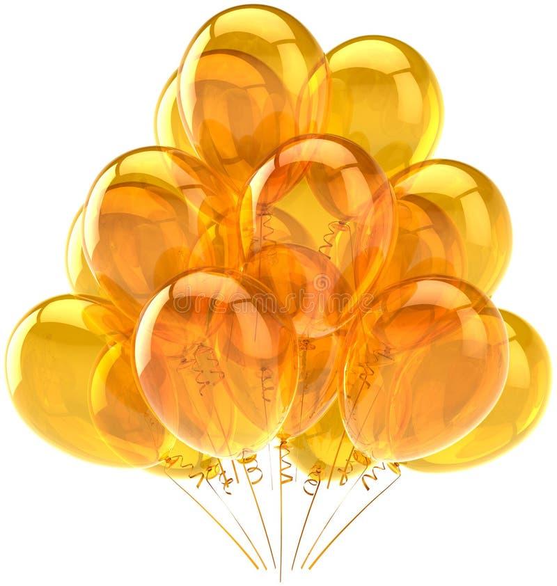 Beautiful ballons yellow translucent royalty free stock photo