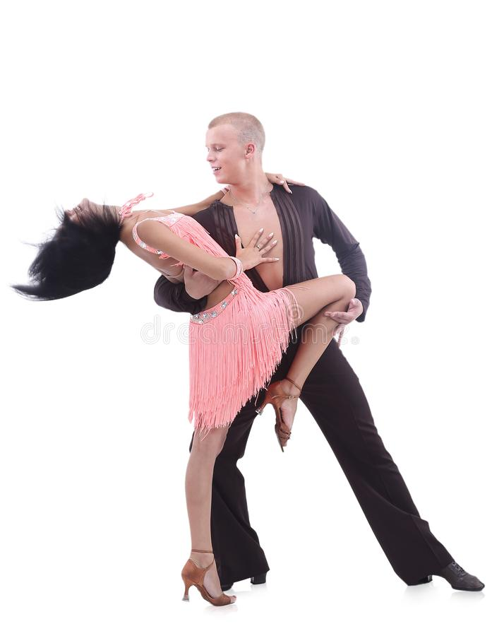 Beautiful ballroom couple performing their passionate exhibition royalty free stock photography