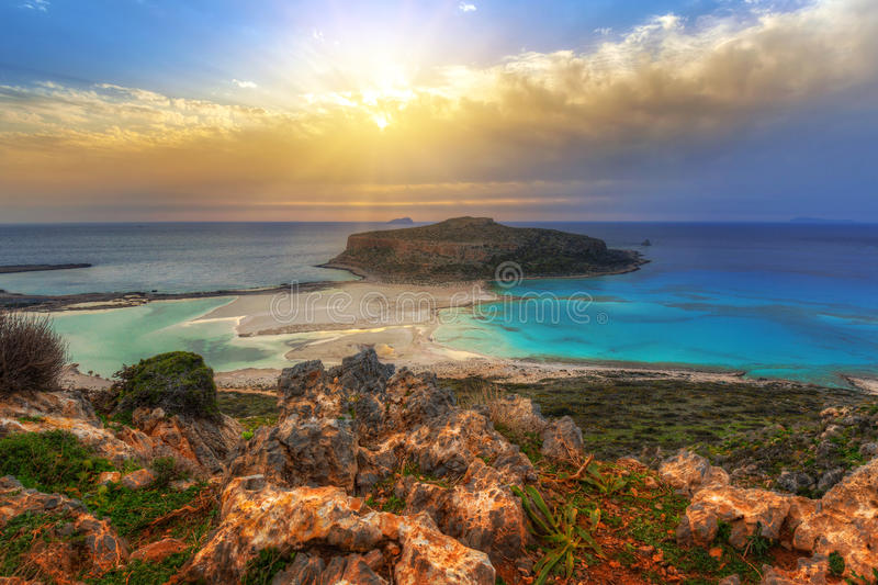 Beautiful Balos beach on Crete. Sunset over amazing Balos beach on Crete, Greece royalty free stock photo