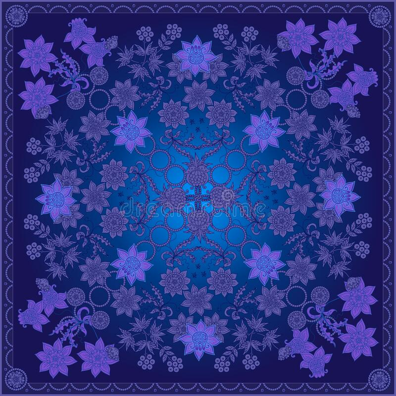 Free Beautiful Bandana Print With Fantasy Floral Motifs. Silk Square Scarf With Intricate Ornament Stock Images - 169838514
