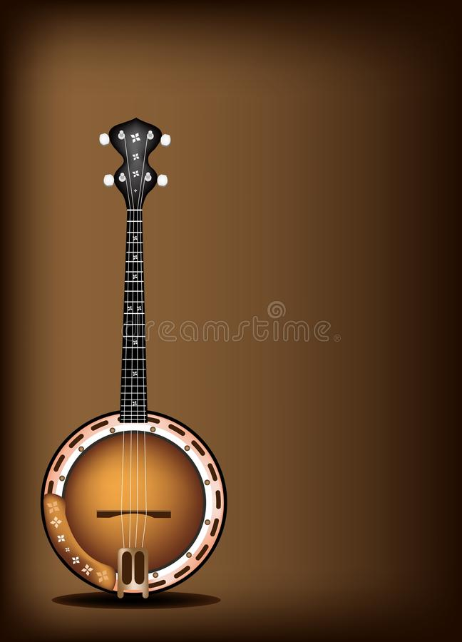 A Beautiful Banjo On Dark Brown Background Royalty Free Stock Images