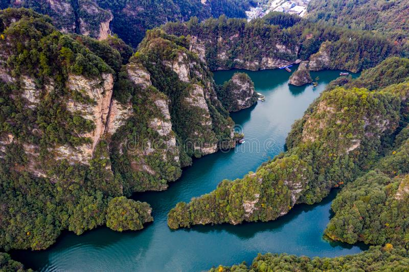 Beautiful Baofeng lake China in breathtaking high angle view stock photos
