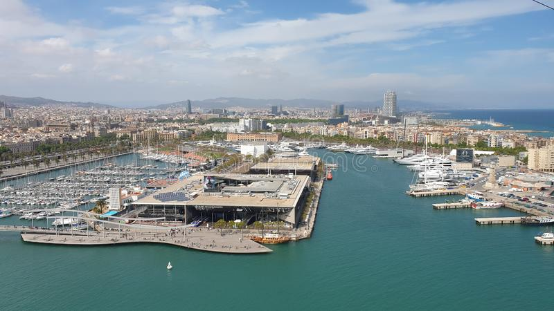 Beautiful Barcelona sea view from funicular stock photography