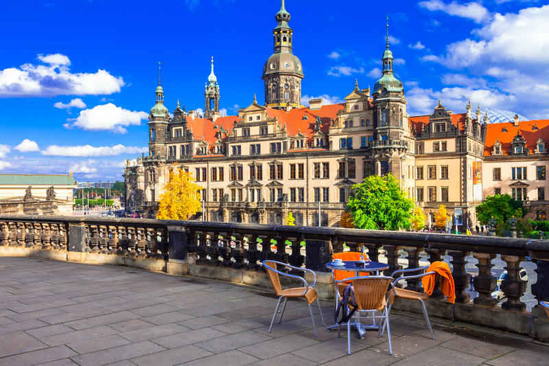 Beautiful baroque Dresden. small bars in old town. Germany. Panoramic view of Baroque Dresden,Germany stock image