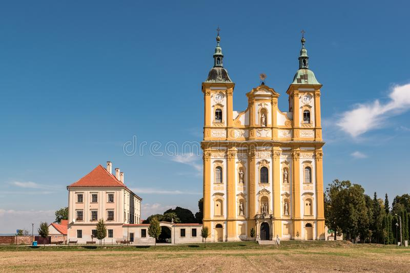 Baroque pilgrimage church of the Virgin Mary in Dub nad Moravou, Czech Republic royalty free stock photos