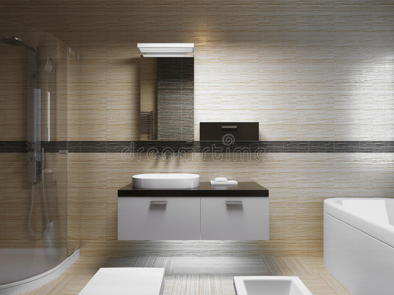 Beautiful bathroom interior. Evening light. Front view on sink console with mirror. 3D render stock image