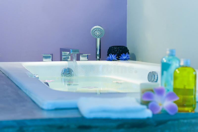 Beautiful bathtub. Beautiful and cozy bathtub setting up in the studio royalty free stock photos