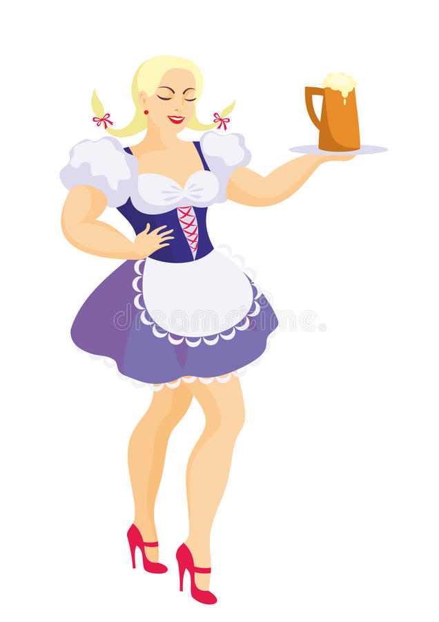 Beautiful Bavarian girl. Young beautiful girl in a traditional Bavarian dress holding a mug of beer stock illustration