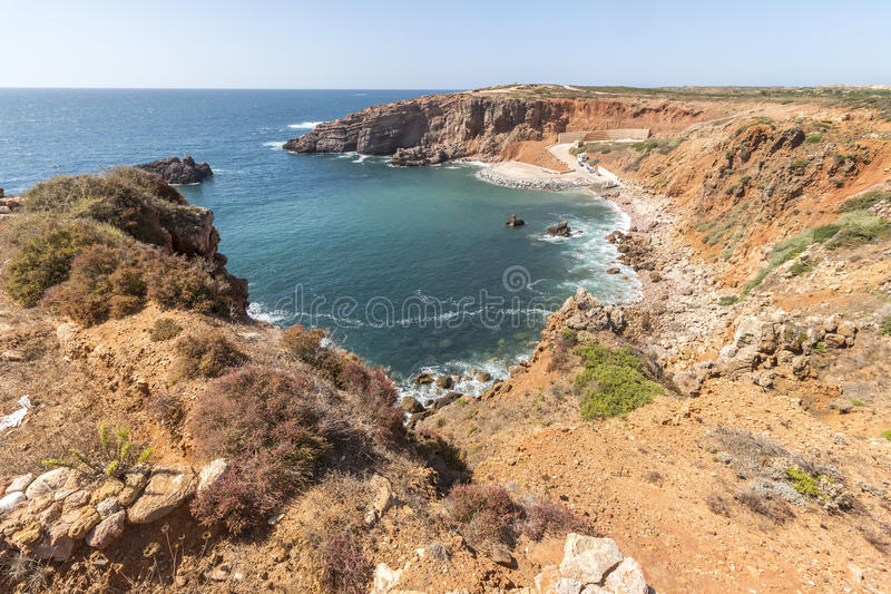 Beautiful Bay on the coastline of south west Portugal royalty free stock photos