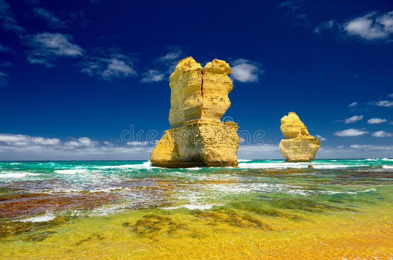 Beautiful beach. . Australia. Great Ocean Road. Twelve Apostles stock images