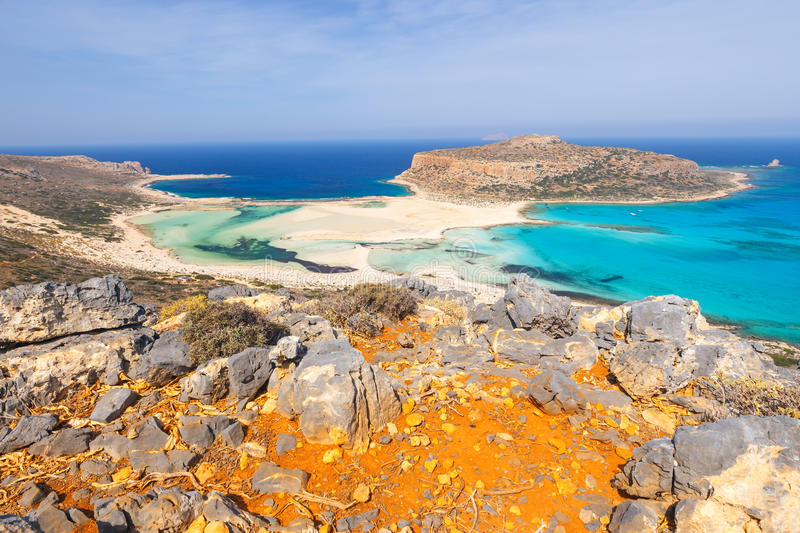 Beautiful beach in Balos Lagoon, Crete. View of the beautiful beach in Balos Lagoon, Crete royalty free stock photo