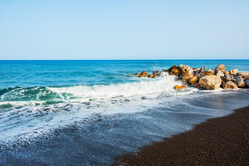 Beautiful beach on Santorini island, Greece. stock image