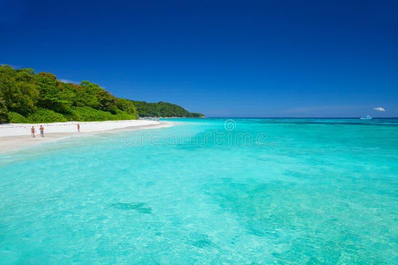 Beautiful beach with blue sea at Tachai island, South of Thailand. Beautiful beach with blue sea and sky located at Tachai island, South of Thailand royalty free stock photos