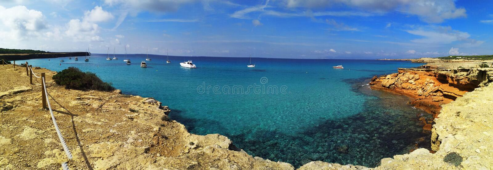 The beautiful beach cala saona of formentera to the balearic islands stock photography