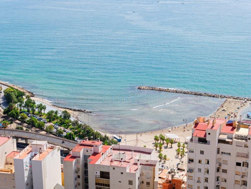Beautiful beach and city in Alicante. view from the Castillo de Santa Barbara. Spain. Beautiful beach and city in Alicante. view from the Castillo de Santa royalty free stock images