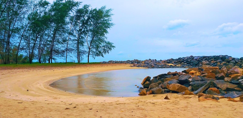 Beautiful beach. Curved beach. Khanom Beach-South Sea Islands National Park, Nakhon Si Thammarat province, Thailand. beautiful south sea in Thailand royalty free stock photos