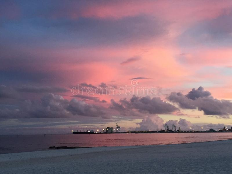 Beautiful beach in Gulfport Mississippi stock photos