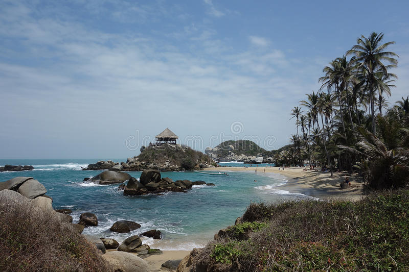 Beautiful beach and hut in El Cabo stock images