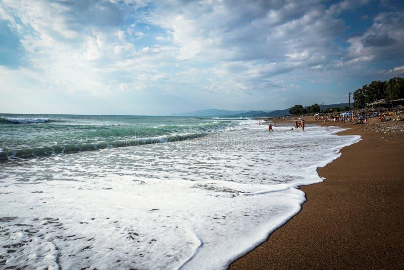 Famous beach named ` Kourouta ` in Ilia, Peloponnese, Greece. Beautiful beach in Ilia, Peloponnese, Greece royalty free stock photos