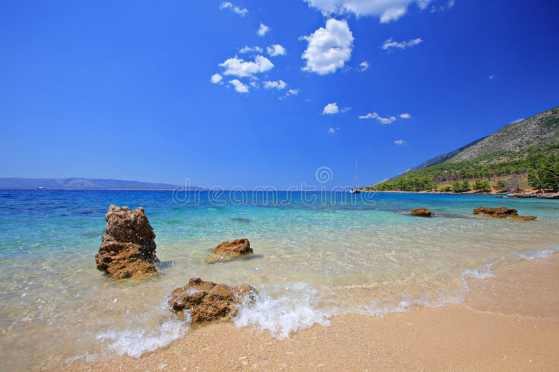 Beautiful beach at island of Brac royalty free stock photos