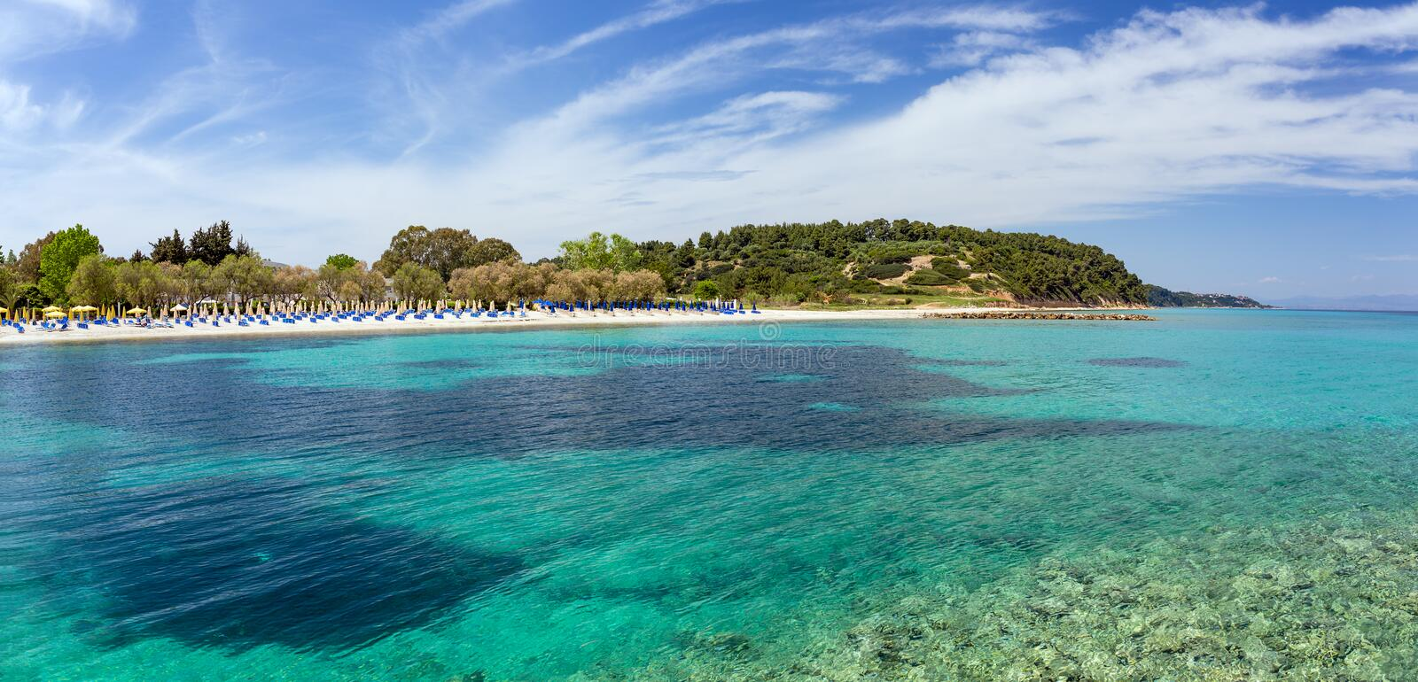 Beautiful beach in Kallithea, Halkidiki, Greece. During the summer months Kallithea is the most popular village in Halkidiki. It is located in the first stock images